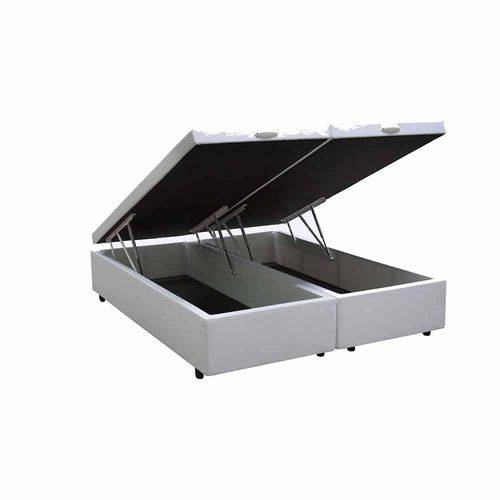 Cama Box Baú Bipartido King 96x203 Branco Courino