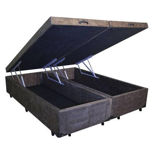 Cama Box Baú Bipartido King 96x203 Marrom Suede