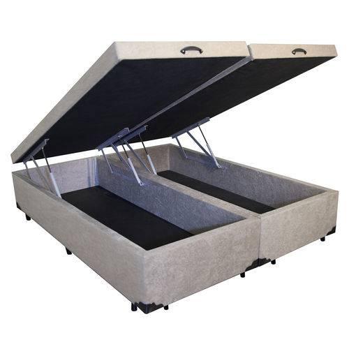 Cama Box Baú Bipartido Queen 79x198 Bege Suede