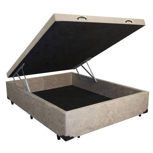 Cama Box Baú Casal 138x188 Bege Suede