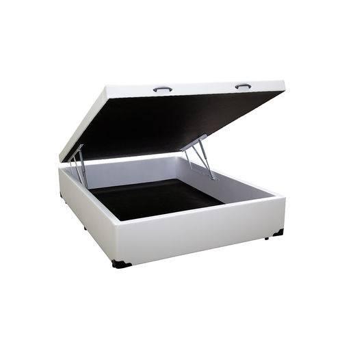 Cama Box Baú Casal 138x188 Branco Courino