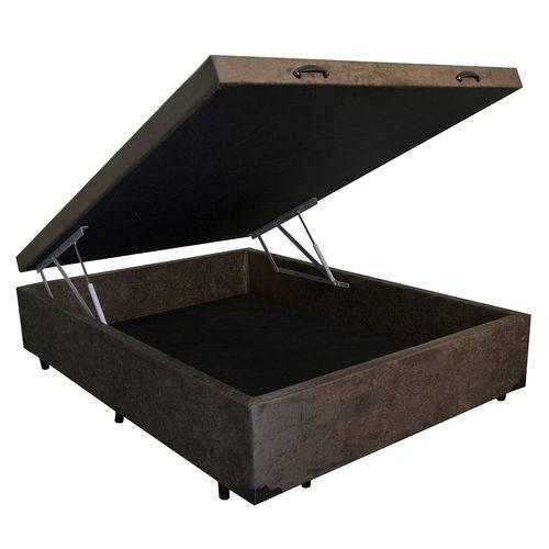 Cama Box Baú Casal 128x188 Marrom Suede