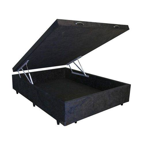 Cama Box Baú Casal 138x188 Preto Suede