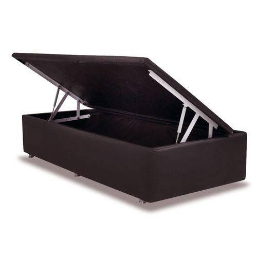 Cama Box Baú Ortobom Courino Marrom Rosolare - Solteiro - 0,88x1,88x0,35