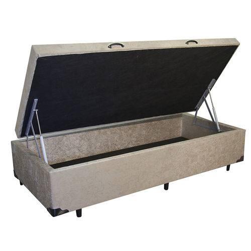 Cama Box Baú Solteiro 78x188 Bege Suede