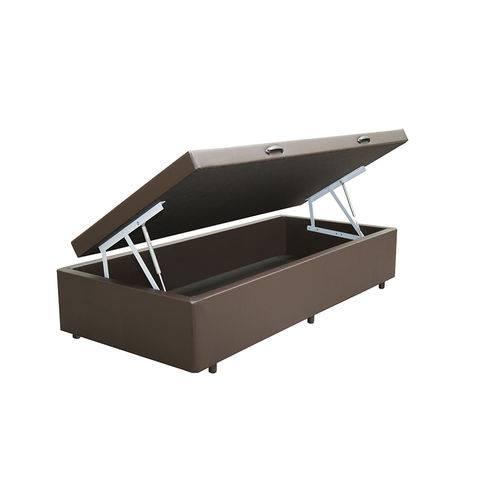 Cama Box Baú Solteiro 78x188 Marrom Courino