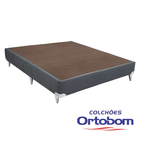 Cama Box Casal Americana - Camurça Cinza - Ortobom - 128x188x23
