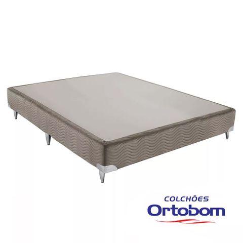 Cama Box Casal Americana - Camurça Crema - Ortobom - 138x188x30