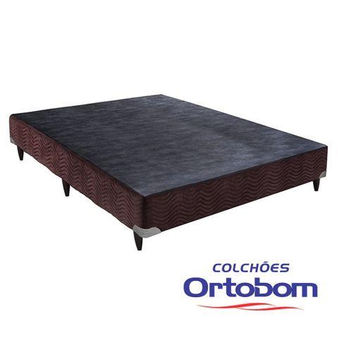 Cama Box Casal Americana - Camurça Marrom - Ortobom - 128x188x23