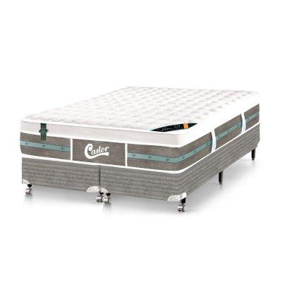 Cama Box + Colchão Castor Casal Molas Pocket Green 138x188x72cm 88340/09269 -