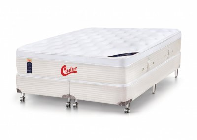 Cama Box + Colchão Castor Queen Size Vitagel Euro One Face 158x198x72cm 94221/09250 -