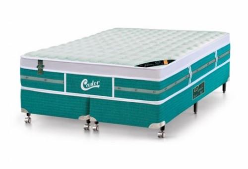 Cama Box - Colchão Queen Size Green Unique Molas Pocket Castor com Box SI 158x198x72cm 53013 -