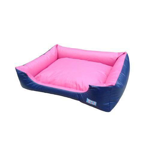 Cama Caminha de Cachorro Pet Impermeável M Lopsol Azul Marinho com Pink
