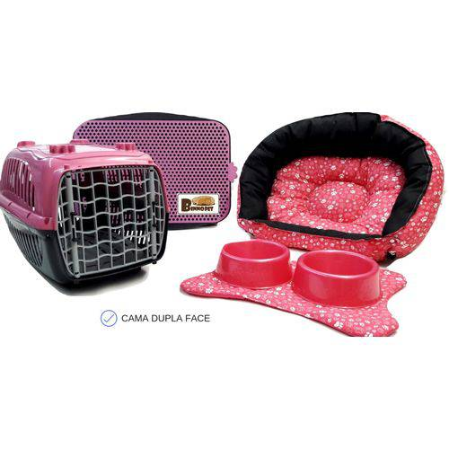 Cama Pet Kit Berlim 06 Pçs. Rosa Patinhas -P Caminha Gato Cachorro Porte Pequeno Binnopet
