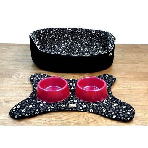 Cama Pet Kit Dubai 04 Pçs C/rosa Binnopet Caminha para Cachorro Gato Patinhas Preta - P