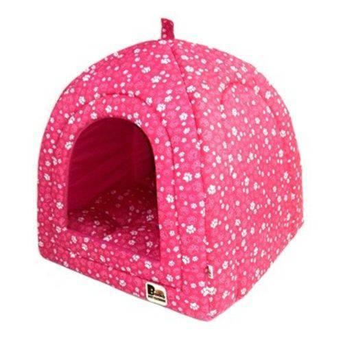 Cama Pet Toca Cabana Iglu Caminha para Cachorro Gato Binnopet Patinha Rosa P