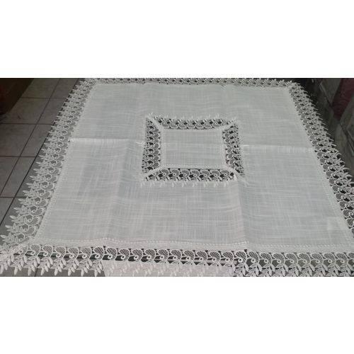 Caminho de Mesa Jolitex Ternille Delhi 100% Poliéster 85cm X 85cm Branco