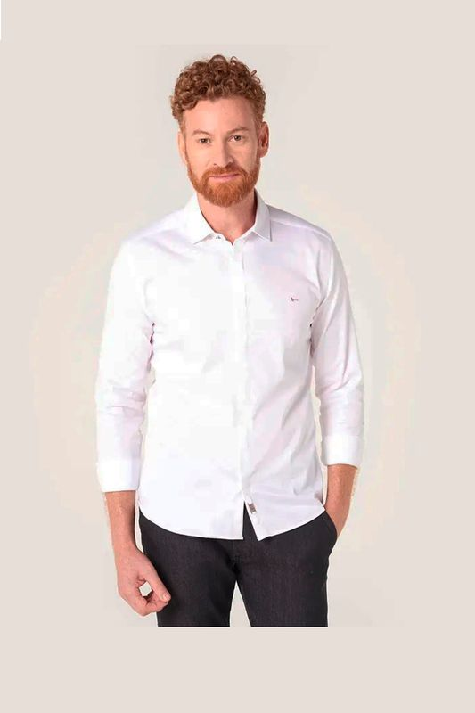 Camisa Aramis Super Slim Night Cetim Stretch Branco Tam. P