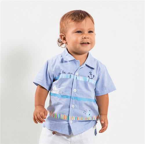 Camisa Barquinho de Papel Azulbb/0 a 3 M