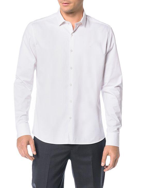 Camisa Básica Regular Calvin Klein Cannes de Algodão Branco - 3