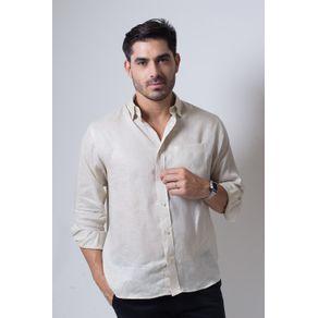 Camisa Casual Masculina Puro Linho Tradicional Bege F03943a 01