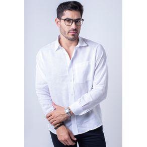 Camisa Casual Masculina Puro Linho Tradicional Branco F03943a 04