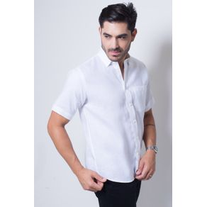 Camisa Casual Masculina Puro Linho Tradicional Branco F03943a 01