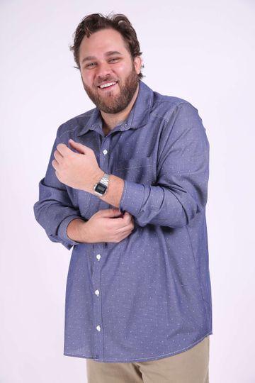 Camisa Chambray Estampado Plus Size Azul Marinho P