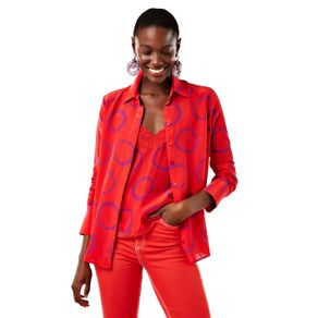 Camisa Círculos Ml Est Circulos Fundo Vermelho - 36