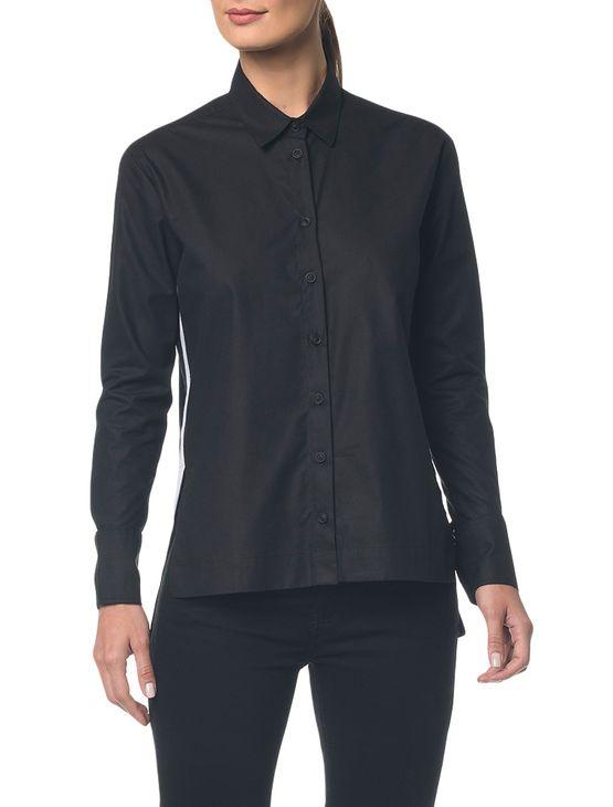 Camisa Ckj Fem Ml Bicolor Faixa Lateral - Preto - 36
