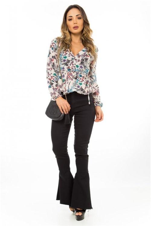 Camisa com Amarração Lateral Floral 310274 - G