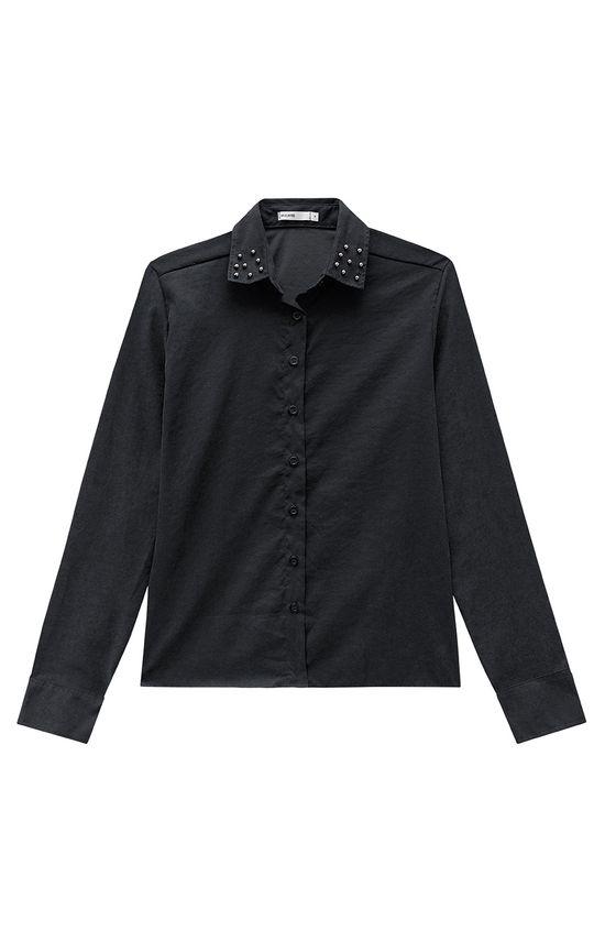 Camisa com Apliques Malwee Preto - GG