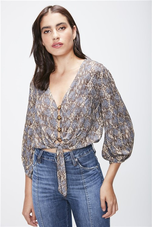 Camisa Cropped Animal Print Feminina