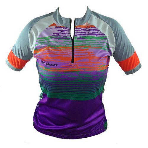 Camisa de Ciclismo Feminina Poker Platina 2 Lycra