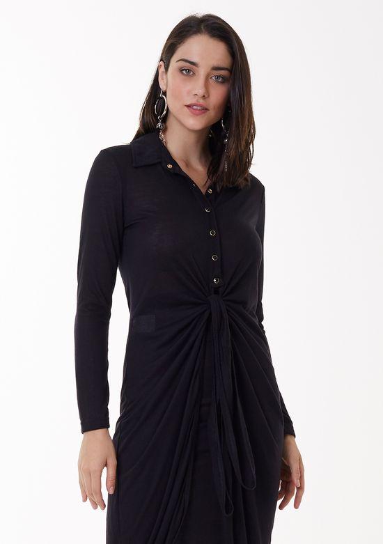 Camisa de Malha com Amarração na Cintura