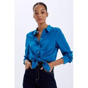 Camisa de Seda Pespontada Azul Ribeira - 36