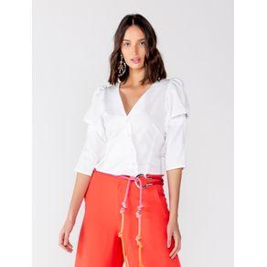 Camisa de Tricoline com Detalhe Ombro - M