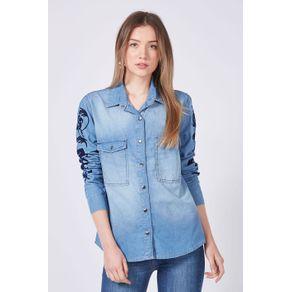 Camisa Denim Arabesco Azul Denim Médio - P