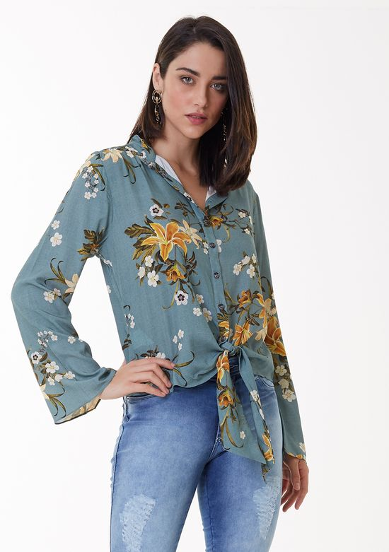 Camisa Estampada com Detalhe em Amarração Frontal