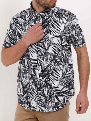 Camisa Estampada Manga Curta Masculina Branco/preto