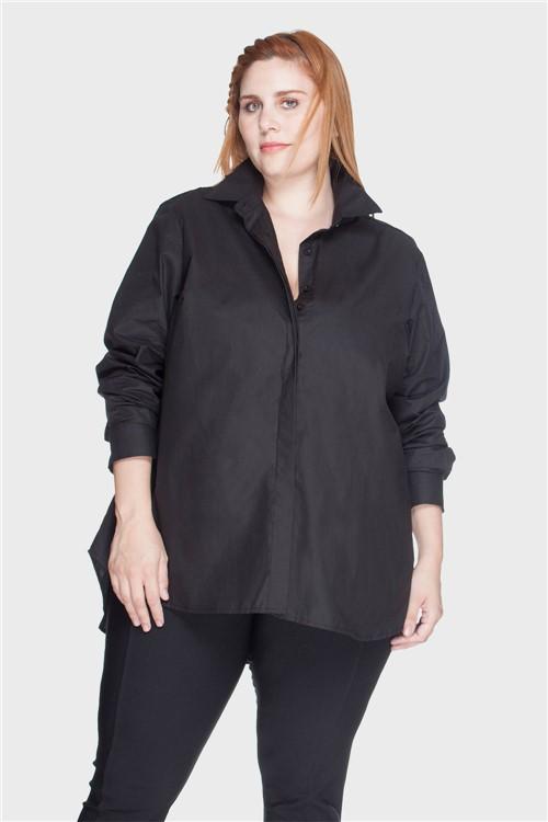 Camisa Evasê 100% Algodão Plus Size Preto-48