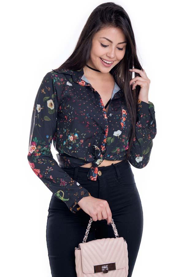 Camisa Feminina de Viscose com Estampa Floral CA0173 - Kam Bess