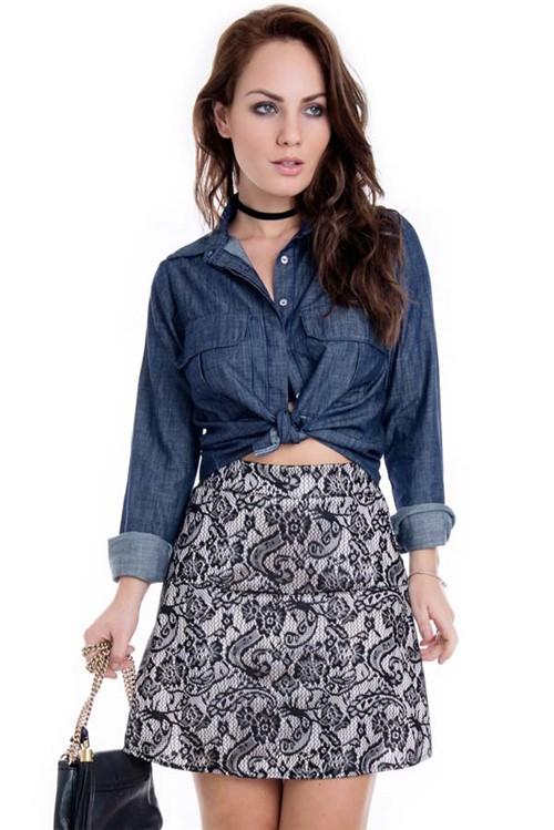Camisa Feminina Jeans Cropped com Bolso CA0163 - Kam Bess