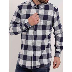 Camisa Flanela Manga Longa Masculina Azul Marinho/branco M