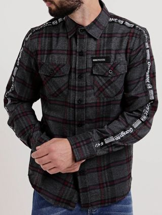 Camisa Flanela Manga Longa Masculina Gangster Cinza