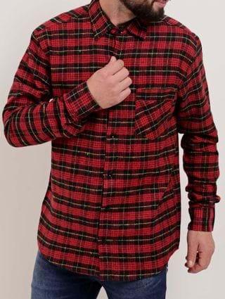 Camisa Flanela Xadrez Manga Longa Masculina Vermelho/preto