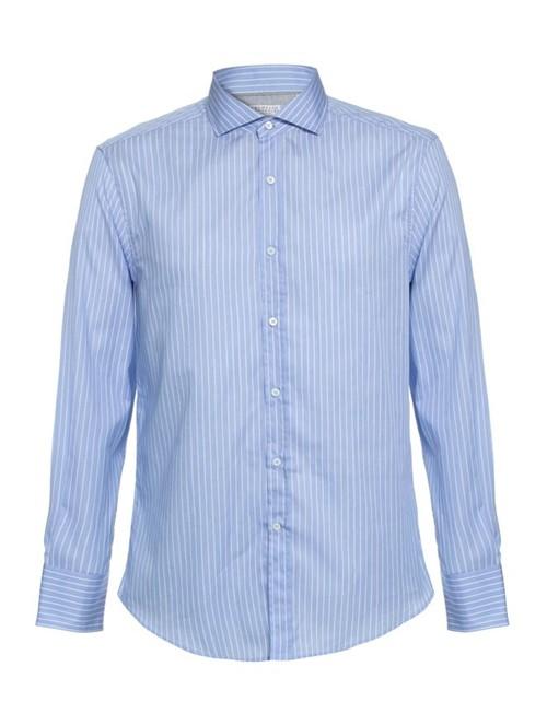 Camisa Gola Francesa de Algodão Azul Tamanho L
