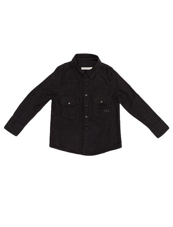 Camisa Infantil Calvin Klein Jeans Recortes Bolso e Logo Chumbo - 4