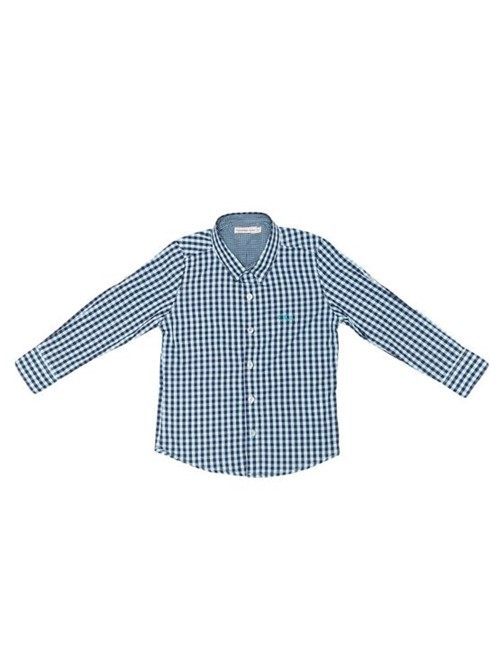 Camisa Infantil Calvin Klein Jeans Xadrez e Logo Bordado Azul Claro - 6