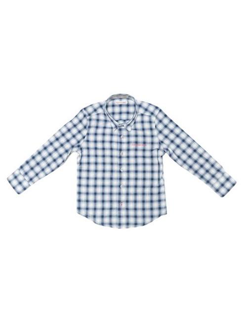 Camisa Infantil Calvin Klein Jeans Xadrez Mescla Azul Royal - 6
